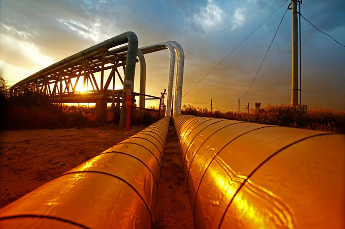 A pipeline at sunset.