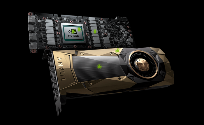TITAN V graphic card with insides shown.