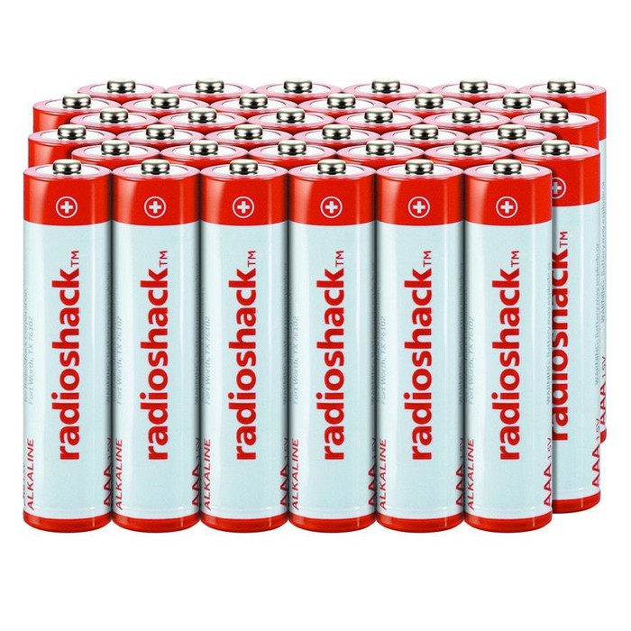 A block of a 36 Radio Shack batteries.