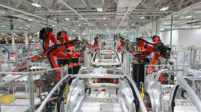 Tesla vehicle production at its factory in Fremont, California.