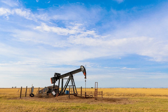An oil pump operating on the plains of the Oklahoma panhandle.