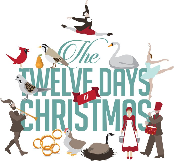 illustration shows the 12 days of christmas - How Many Gifts In 12 Days Of Christmas
