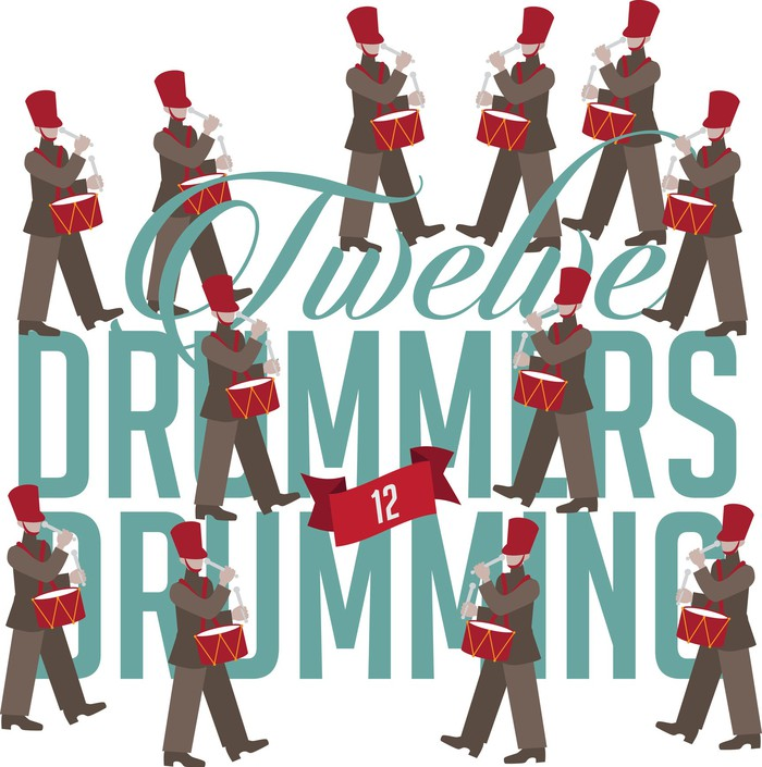 An illustrations shows 12 drummers drumming