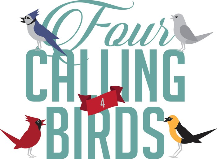 An illustration shows four calling birds