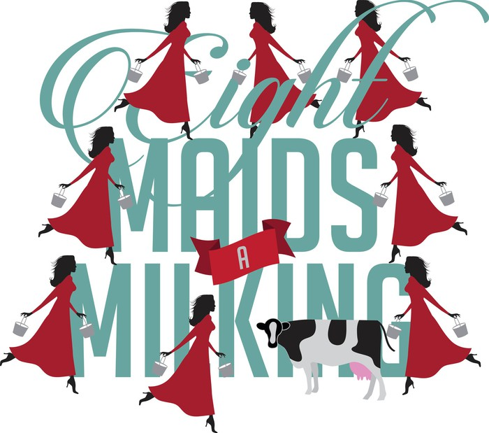An illustraiton shows 8 maids-a-milking