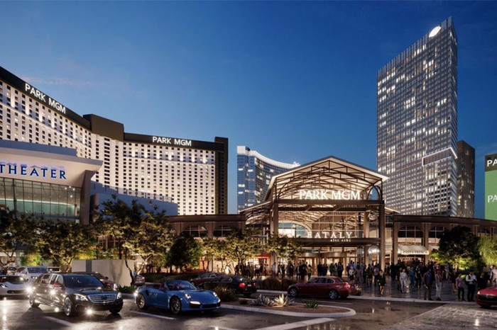 Rendering of Park MGM from the Las Vegas Strip.