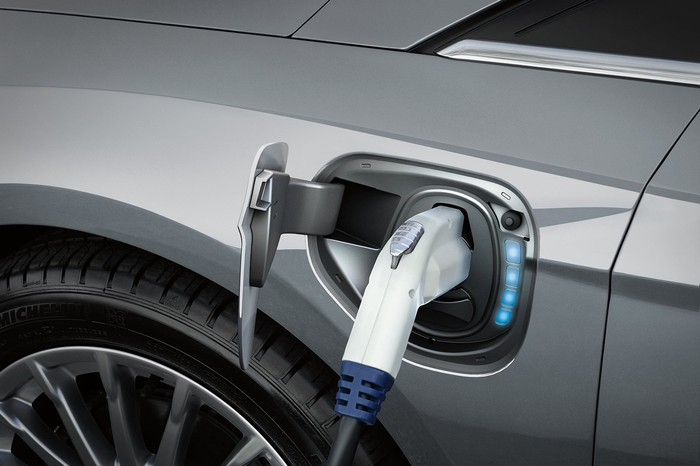 Ford's 2017 Focus Electric plugged in and charging.