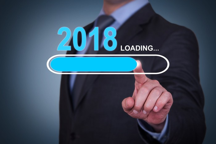 Businessman pointing to graphic showing 2018 and loading progress bar