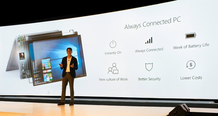 Terry Myerson, Windows and Devices Group Executive Vice President, at the Qualcomm Snapdragon Summit.