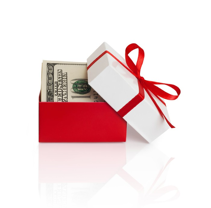 Gift box with cash in it