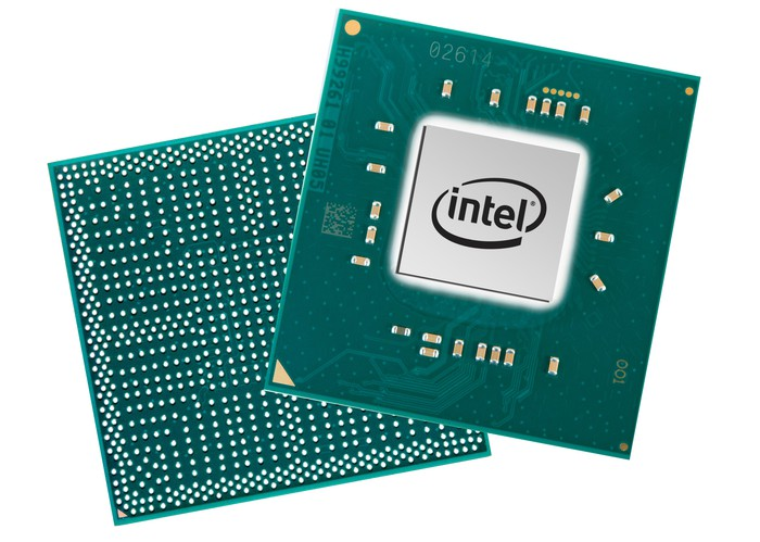 Two of Intel's PC processors with the back side on the left and the front side on the right.