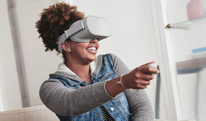 Woman using Oculus Go and controller.