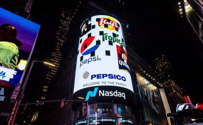 Nasdaq facade welcoming Pepsico