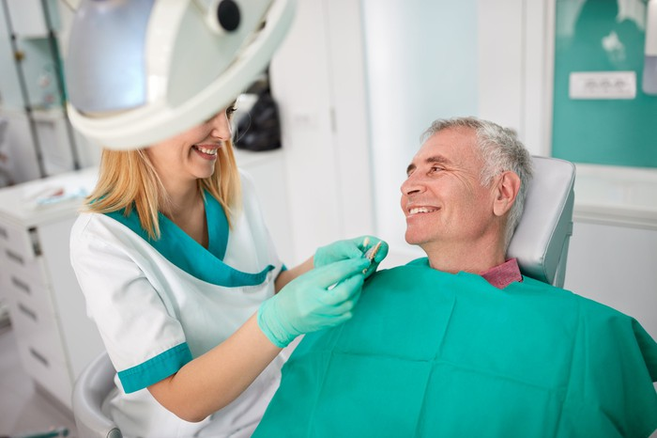 Senior male in dental chair
