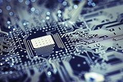 A chip inside a technology device.