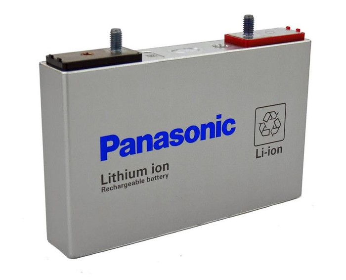A rectangular Panasonic prismatic lithium-ion battery cell