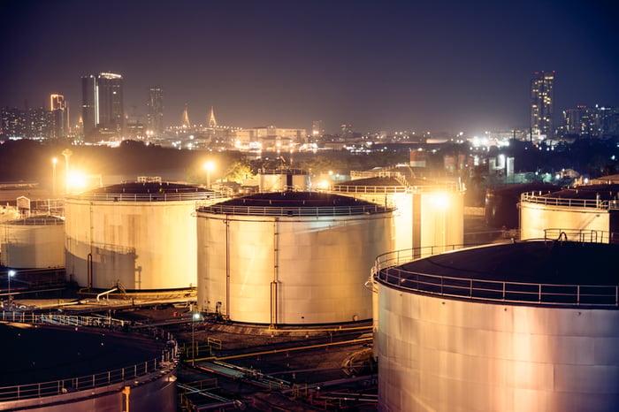 Diesel fuel storage tanks.