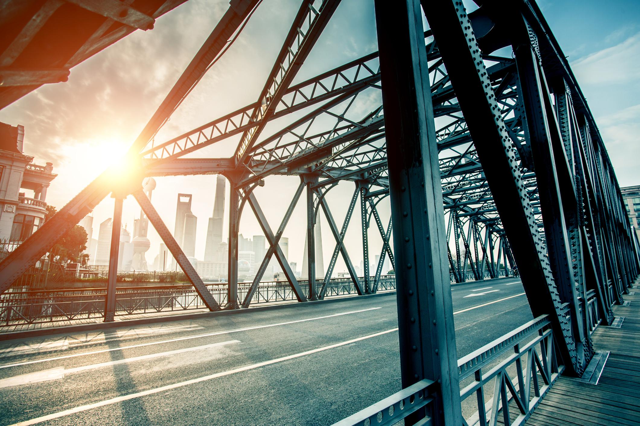 A close-up of a bridge.
