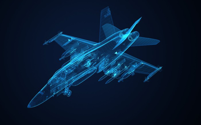 3-D see-through model of Boeing F/A-18 Hornet fighter jet