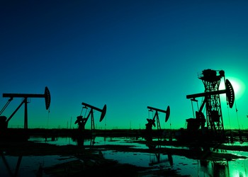 Oil pumps at night.