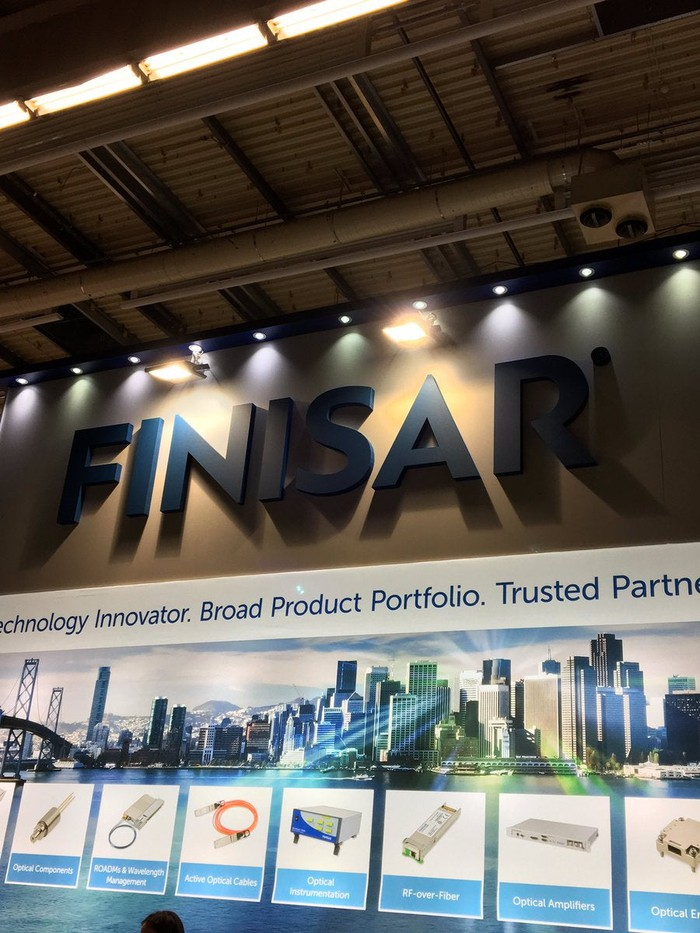 A Finisar booth at an exhibition.