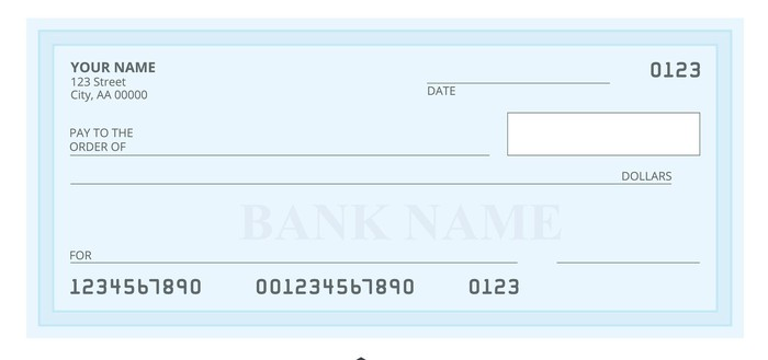 Sample blank check in blue.