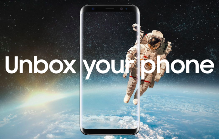 Unbox Your Phone is overlayed on a picture of the Samsung Galaxy S8 featuring a background of outerspace with an astronaut floating above Earth.