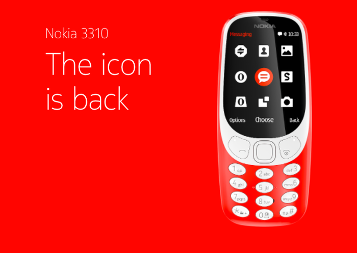 The Nokia 3310 is show in an advertisement with an orange background and the words, The icon is back.