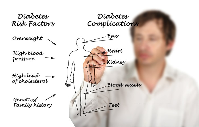 Man listing a number of diabetes complications and risks