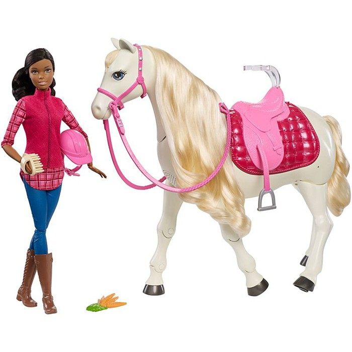 Barbie is pictured with her dream horse