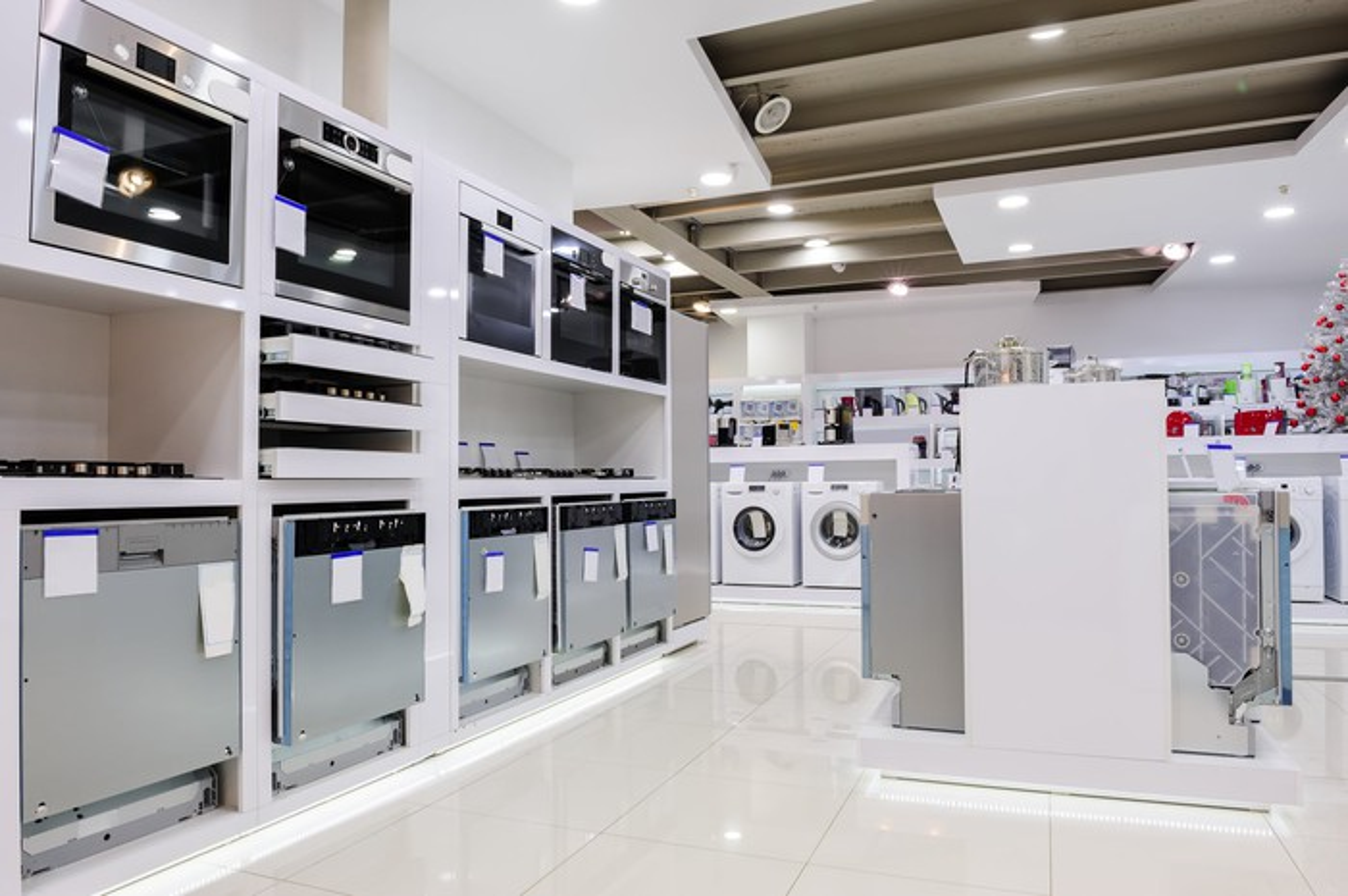 An appliance showroom.
