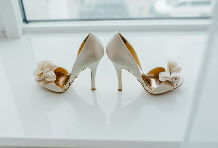 A pair of high heels is displayed.