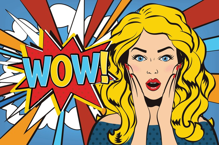 comic booklike illustration of surprised-looking woman next to the word wow