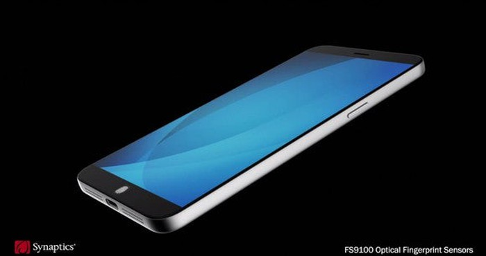 A mockup of a smartphone with an in-display fingerprint scanner.