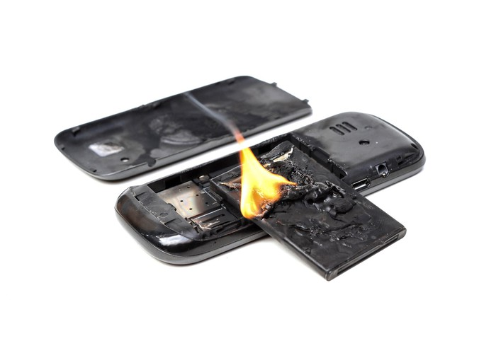 Lithium phone battery on fire