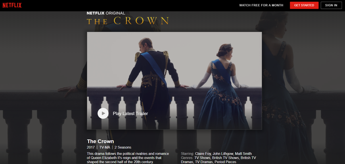 Landing page for Netflix original The Crown.