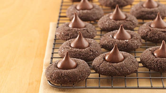 Chocolate cookies, each topped with a Hershey Kiss