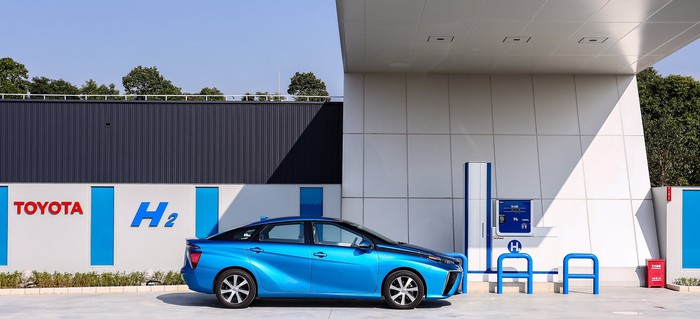 A blue Toyota Mirai fuel-cell sedan parked at a refueling station. Toyota H2 is printed on a wall behind.