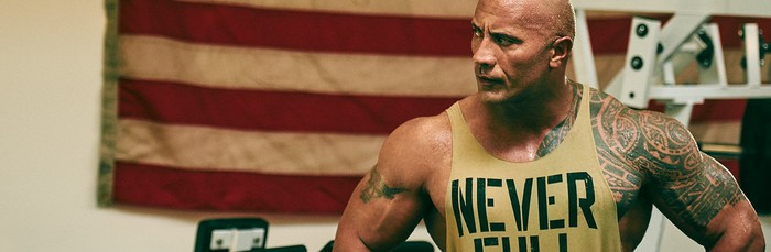 "Dwayne ""The Rock"" Johnson pictured during a workout"