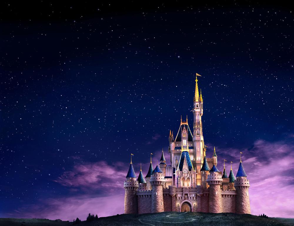 Disney castle at night.