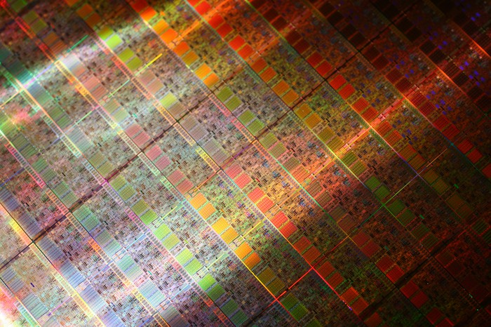 A wafer of Intel processors.