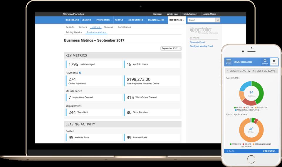 Ipad featuring AppFolio software