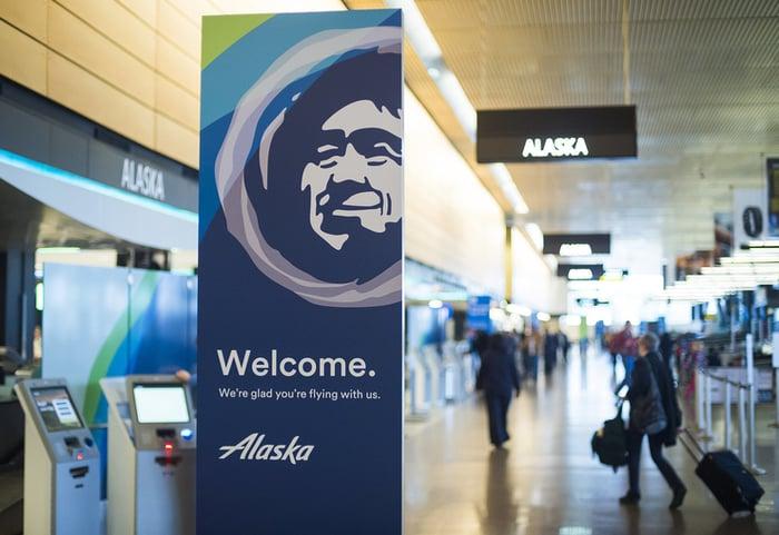 Interior shot of Alaska Airlines terminal experience.