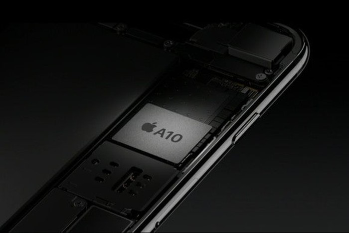 Apple's A10 Fusion chip inside of an iPhone 7 chassis.