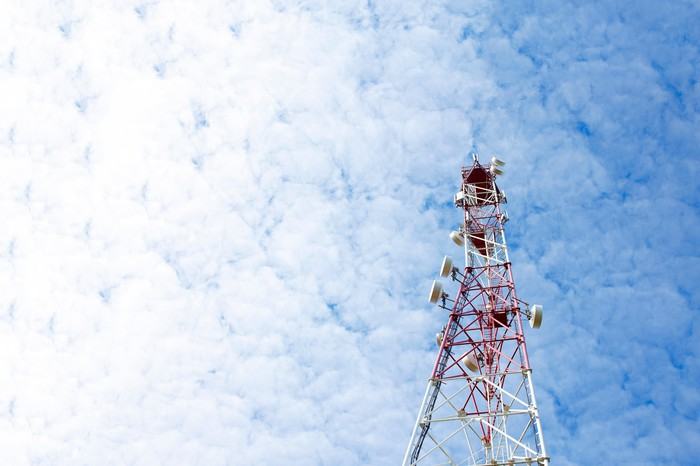 A picture of a cellular tower.