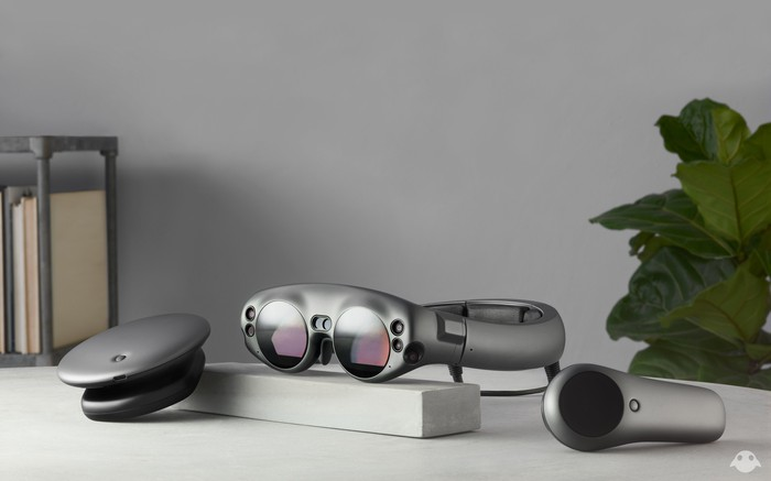 Magic Leap augmented reality glasses sitting on table.
