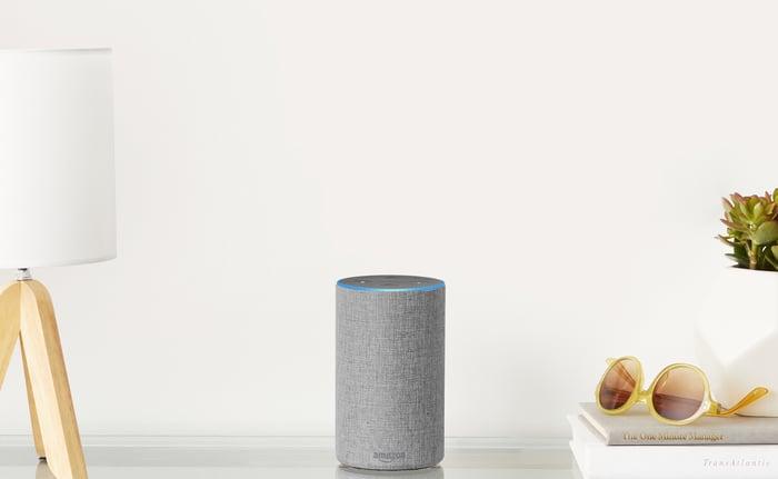 Image of Amazon Echo on table.