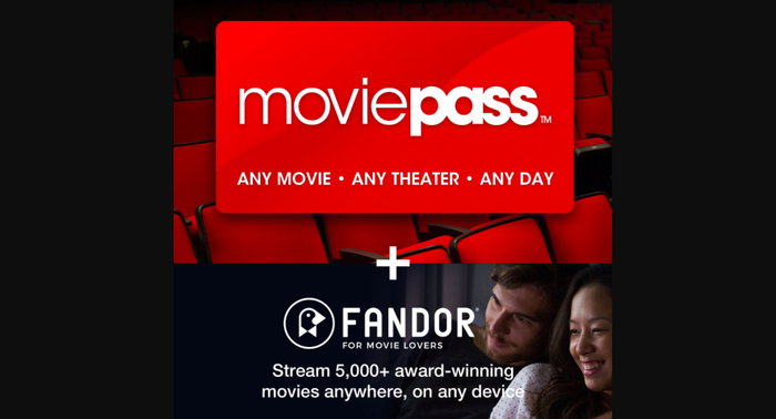 A MoviePass card paired up with a Fandor promo offer.