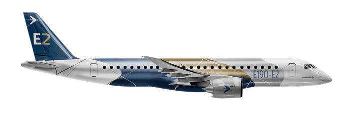An Embraer E190-E2 jet against a white background.