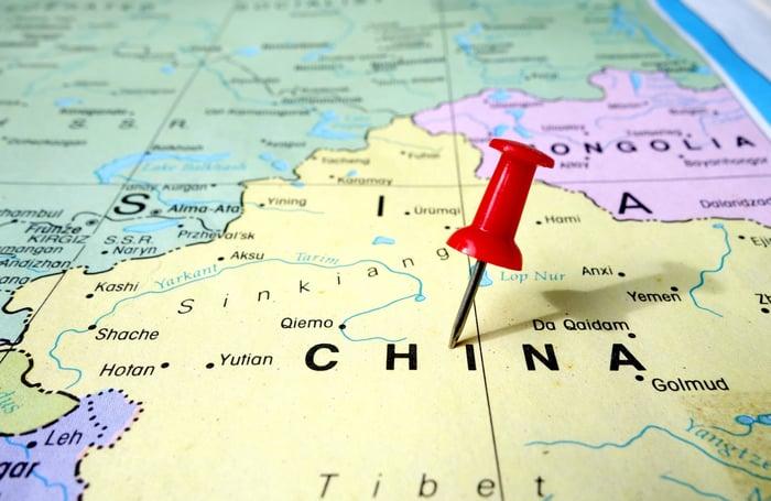 Pushpin on map of China